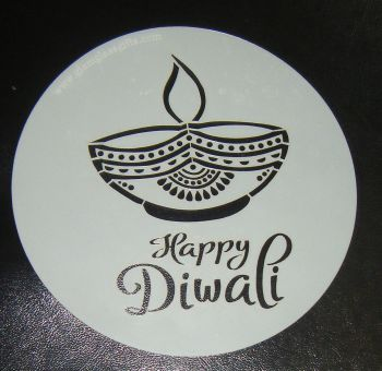 Happy Diwali Candle Design Stencil Round 6 inch