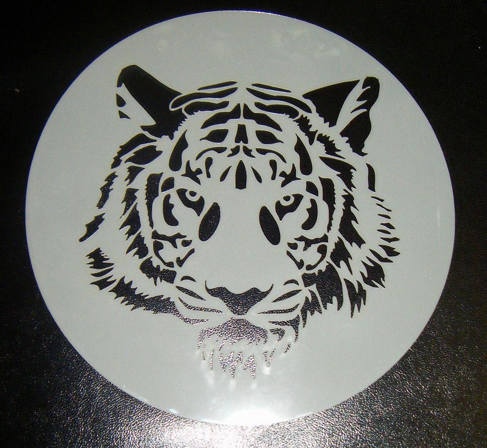 Tiger Face Stencil Round 6 inch