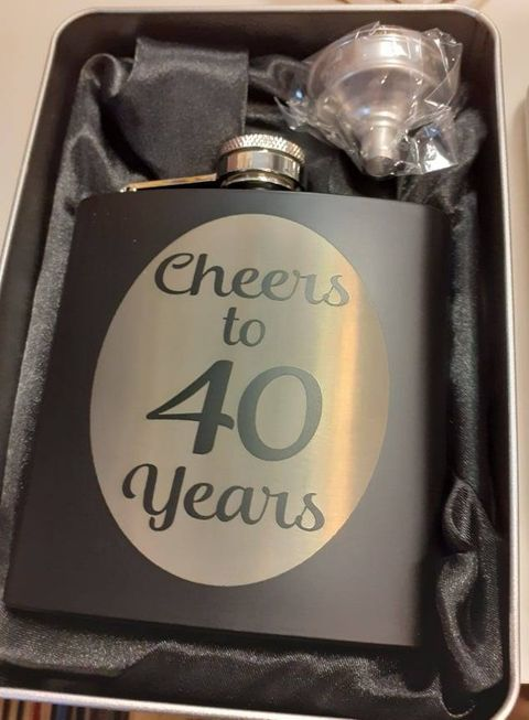Black Engraved Hip Flask - Custom Order Any Design