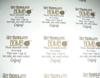 A4 24 Per Sheet Sheet of Hot Chocolate Bomb Stickers