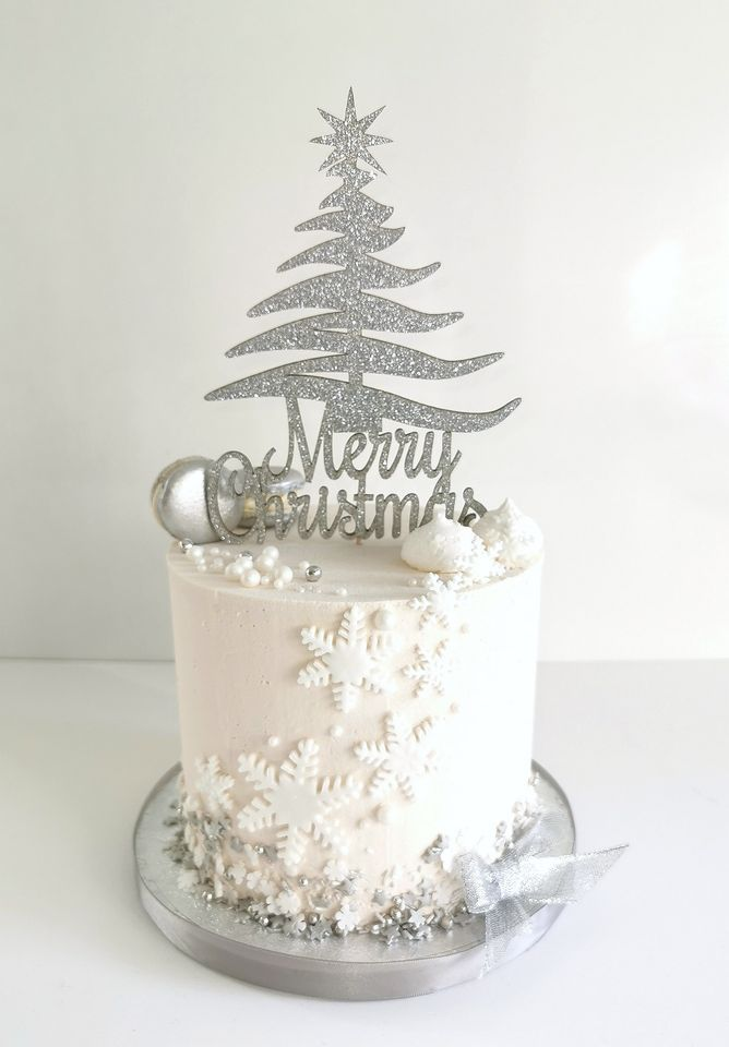 Merry Christmas Tree Silhouette Cake Topper