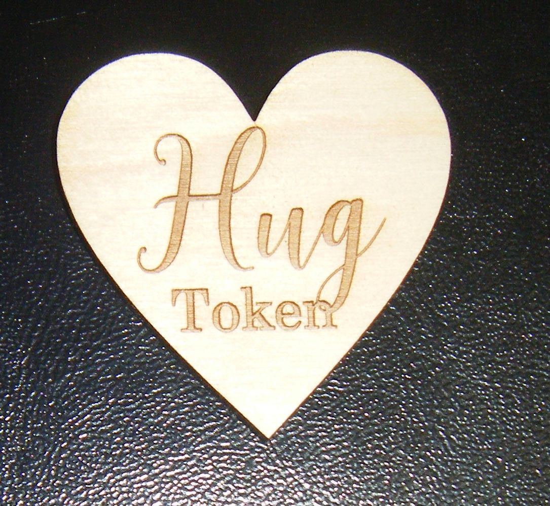 10 x Wooden Heart 50mm Size Gift Tag - Hug Token