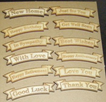10 x Wooden Greeting Banners - Any Wording