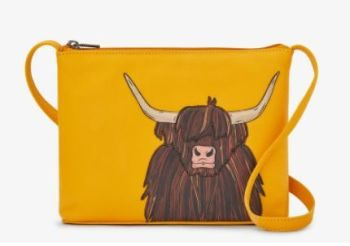 Highland Cow Parker Mustard Leather Cross Body Bag