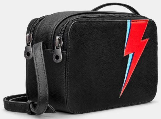 Lightning Bolt Black Leather Cross Body Bag