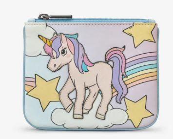 Leather Magical Unicorn Zip Top Purse - Yoshi