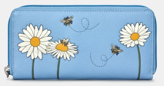 Bee Happy Zip Round Leather Purse - Yoshi