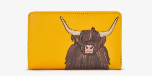 Highland Cow Zip Around Leather Purse - Yoshi