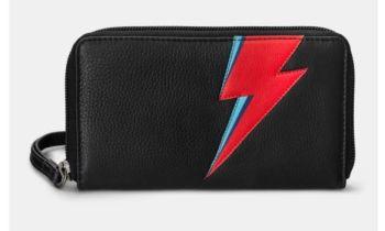 Lightning Bolt Black Zip Round Leather Purse With Strap - Yoshi
