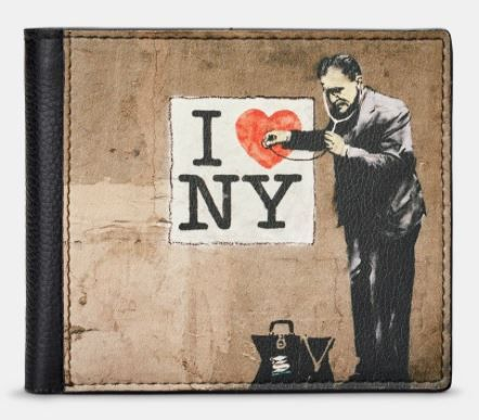 Banksy NY Black Leather  Mens Wallet - Yoshi