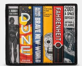 Sci-fi Bookworm Black Leather  Mens Wallet - Yoshi