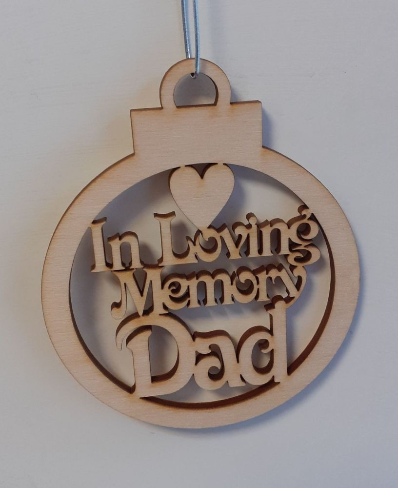 In Loving Memory  - Tree Bauble Decoration - Wood