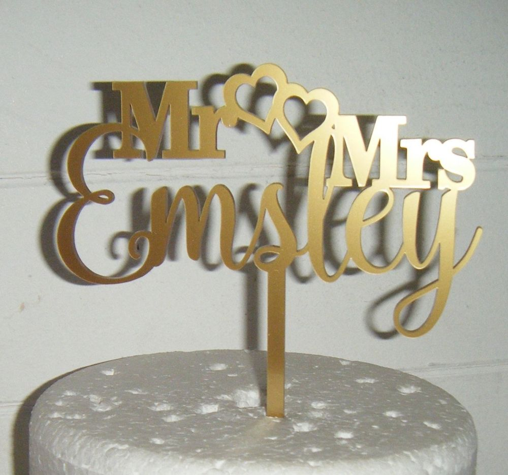 Mr Hearts Mrs Custom Order Name Cake Topper  (or same sex)
