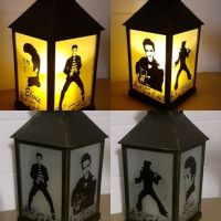 Lantern with Engraved Elvis in Various Poses