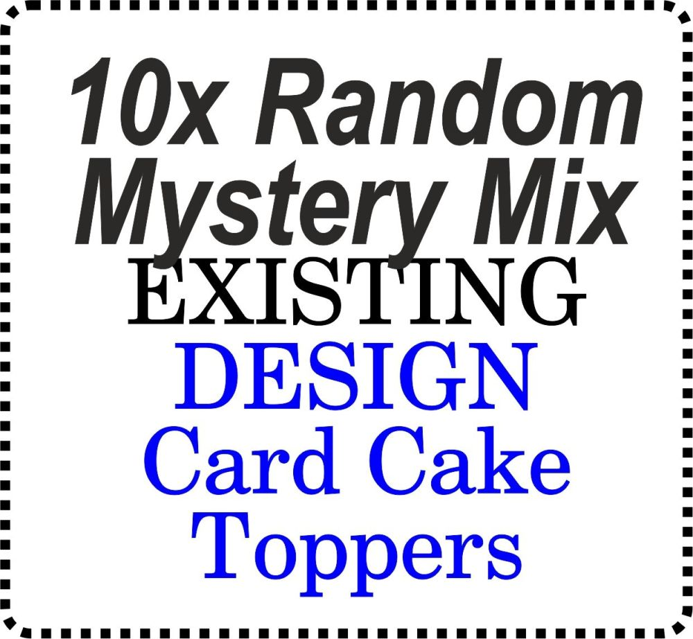10 x Card Mystery Design Generic Mixed Cake Toppers