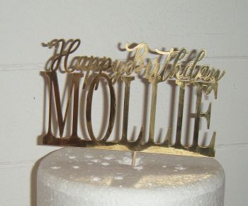 Happy Birthday and Name Topper Custom Made To Order