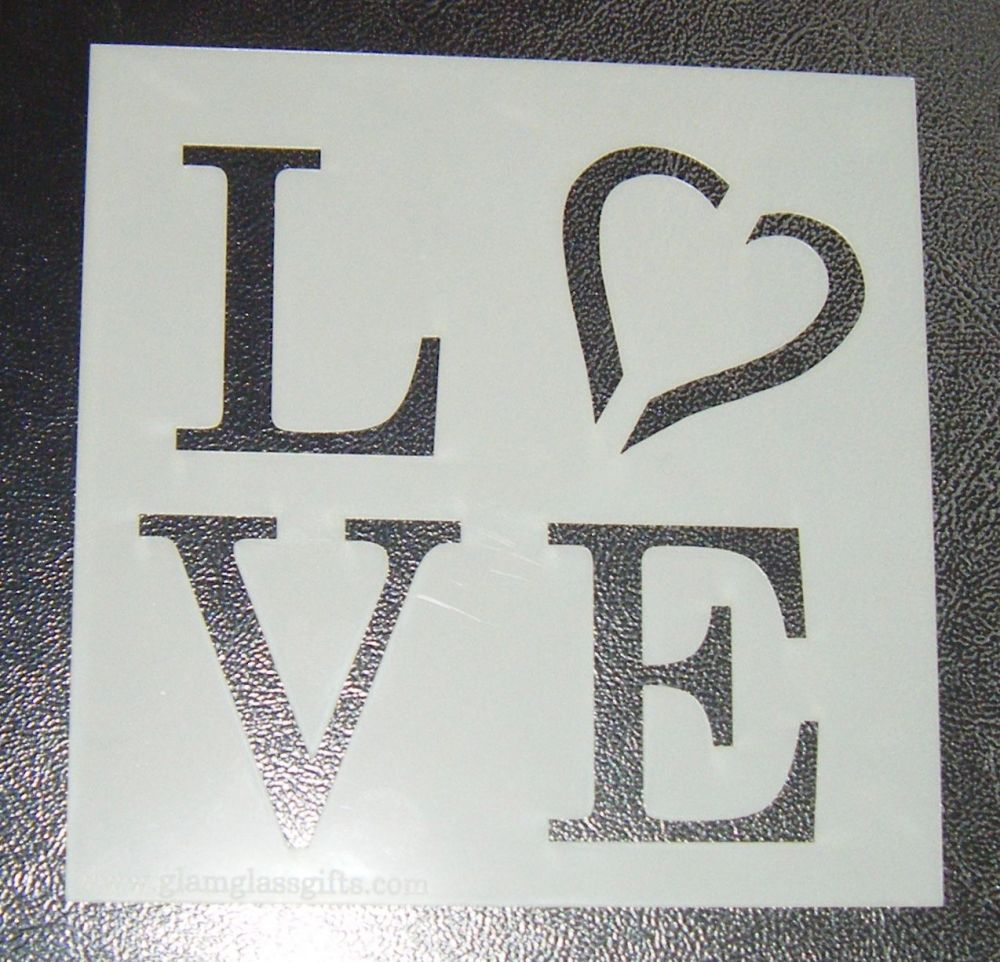 Love - Square - Cake Decorating Stencil Airbrush Mylar Polyester Film