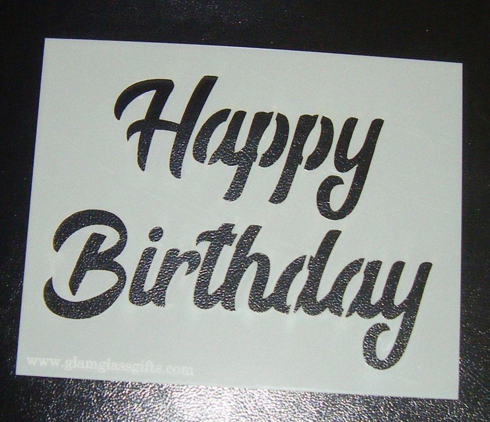 Happy Birthday Design 2 - Cake Stencil
