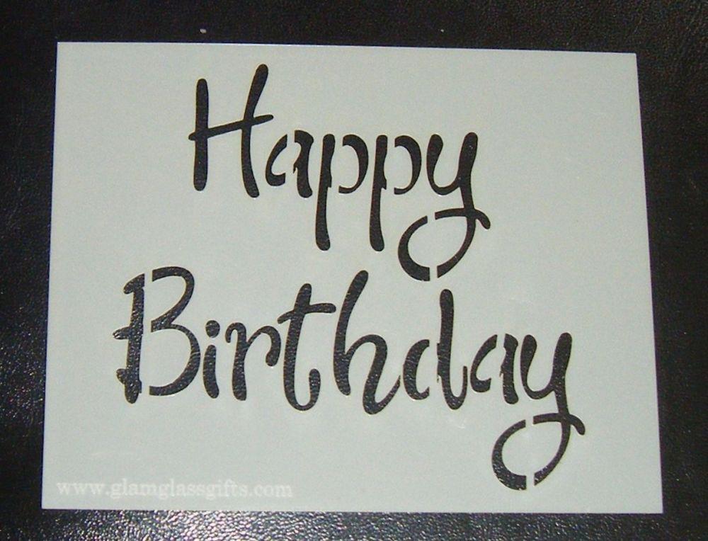 Happy Birthday Design 3 - Cake Stencil