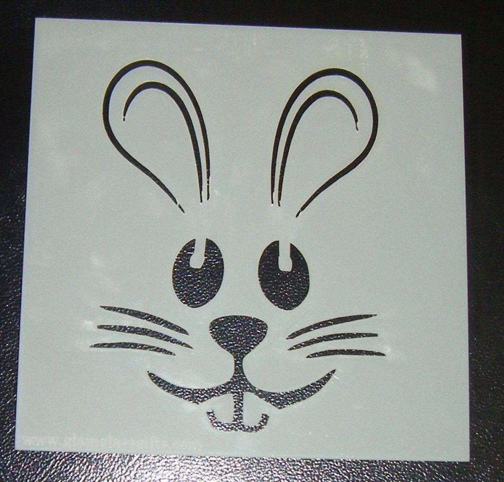 Bunny Rabbit Face - Cake Decorating Stencil Airbrush Mylar Polyester Film