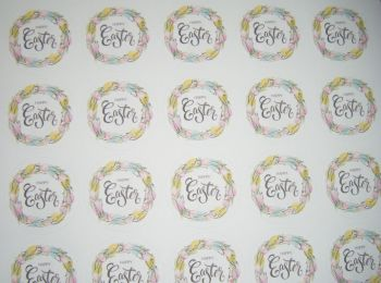 A4 35 Per Sheet Sheet of Happy Easter Egg Wreath Stickers