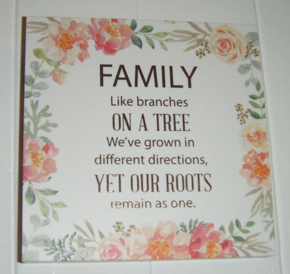 Family - Floral Quote Block Wall Art