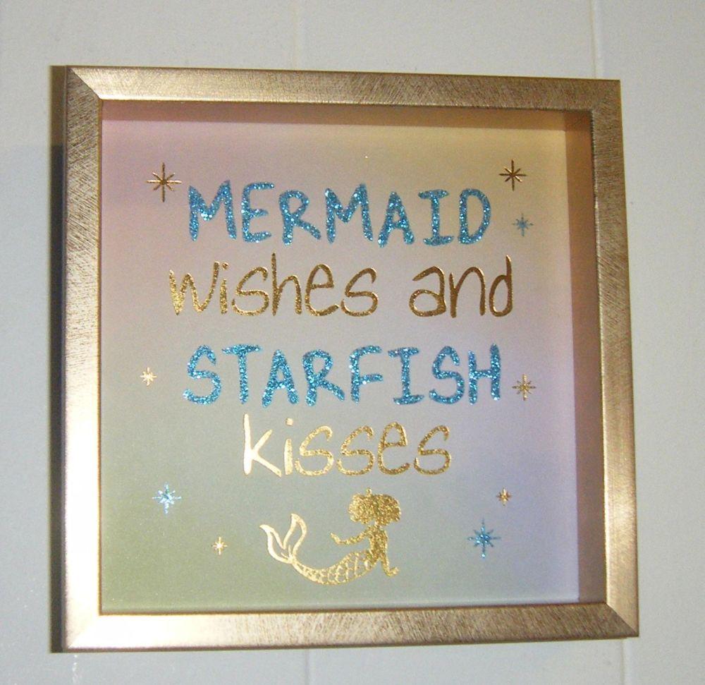 Mermaid Wishes And Starfish Kisses - Deep Block Wall Art