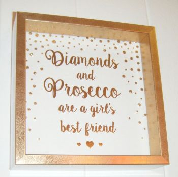 Diamonds and Prosecco are a Girls Best Friend - Fun Quote Frame Wall Art
