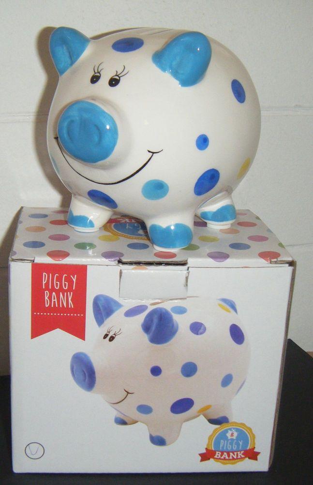 Ceramic Piggy Bank - Blue Dots and Spots