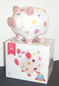 Ceramic Piggy Bank - Pink Dots and Spots