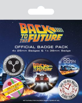 Back To The Future Delorian Badge Pack