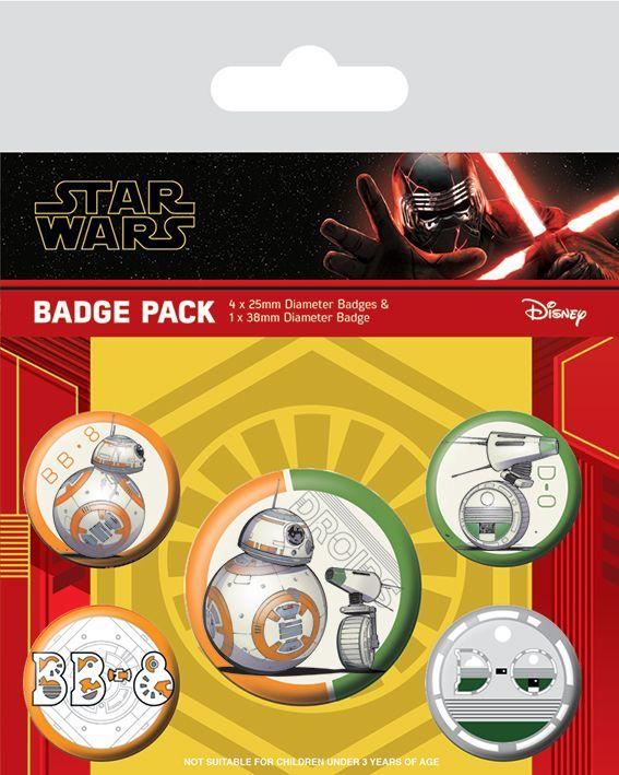 Star Wars Rise Of Skywalker Droid BB8 Badge Pack