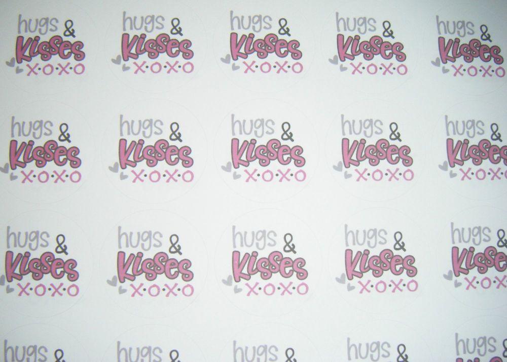 A4 35 Per Sheet Sheet of Hugs & Kisses Stickers
