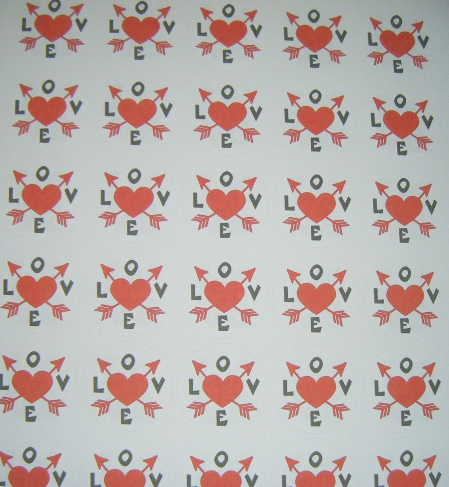 A4 35 Per Sheet Sheet of Love With Arrows Stickers