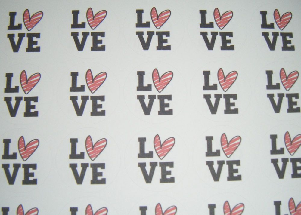 A4 35 Per Sheet Sheet of Love With Heart Stickers