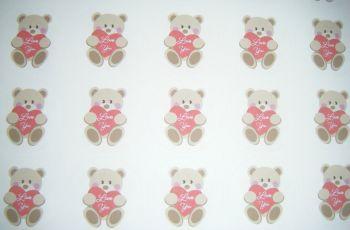 A4 35 Per Sheet Sheet of Love You Bear Stickers