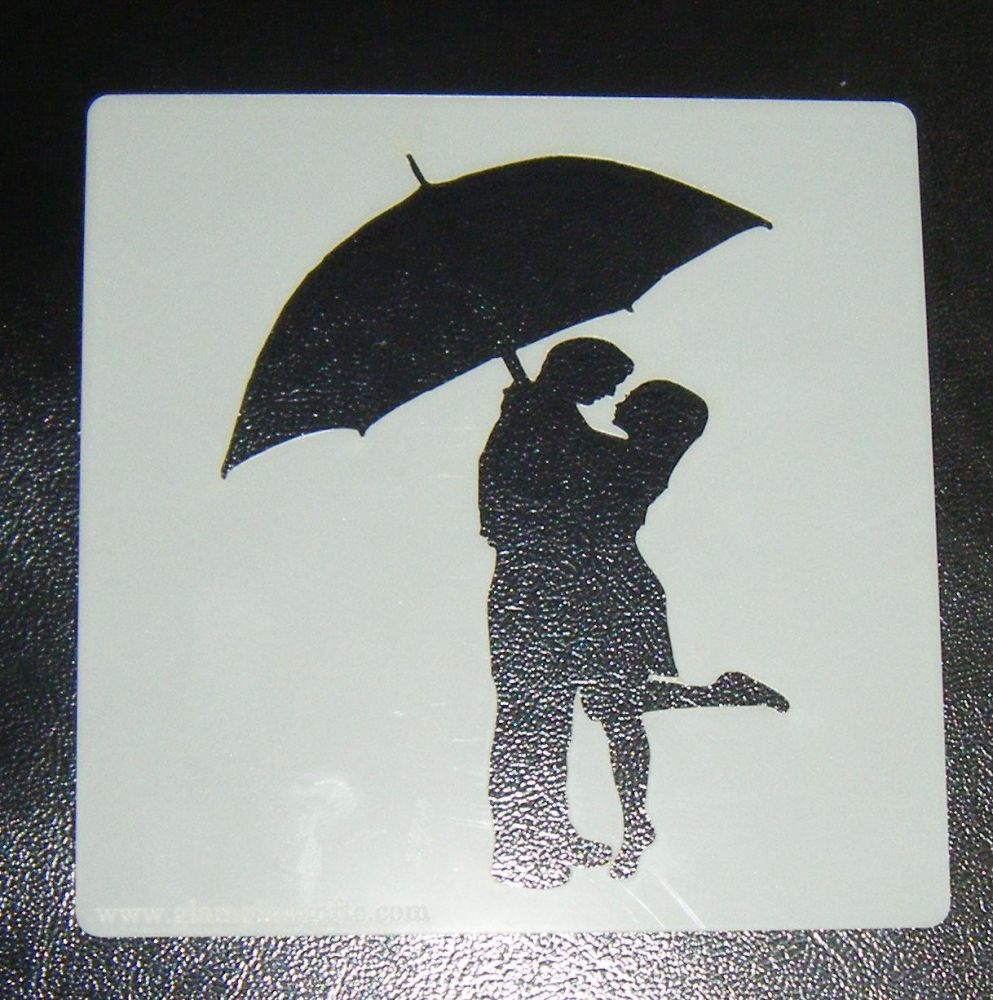 Couple Under Umbrella- Cake Decorating Stencil Airbrush Mylar Polyester Fil