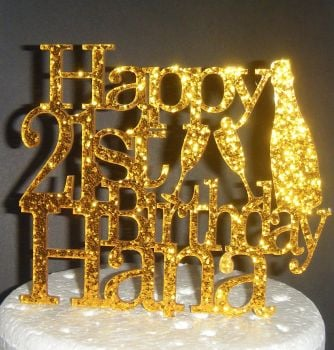 Champagne Bottle Glass Happy Birthday and Name Topper Custom Made