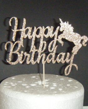 Happy Birthday Cake Topper - Unicorn Silhouette