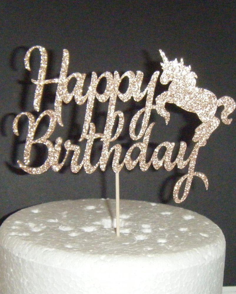 Happy Birthday Cake Topper - Unicorn Silhouette