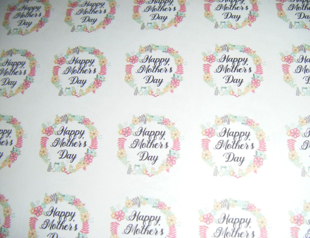 A4 35 Per Sheet Sheet of Happy Mother's Day Design 2 Stickers