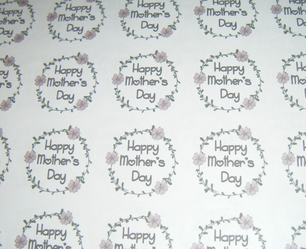 A4 35 Per Sheet Sheet of Happy Mother's Day Design 3 Stickers