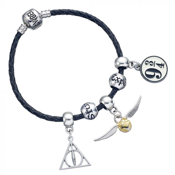 Harry Potter - Black Leather Bracelet With 2 Spell beads + Charms Shown