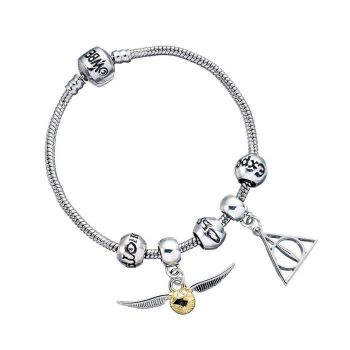 Harry Potter - Silver Bracelet With 3 Spell Beads + 2 Charms Shown