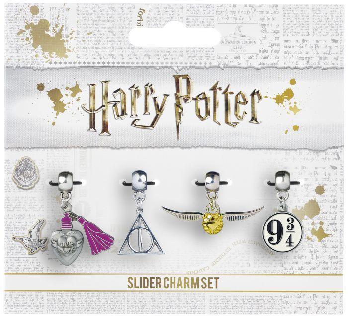Harry Potter - Golden Snitch/Deathly Hallows/Love Potion/Platform 9 3/4 Slider Charm Set