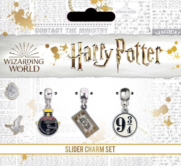 Harry Potter Silver Plated Charm Set Including Hogwart's Express, Train Tic