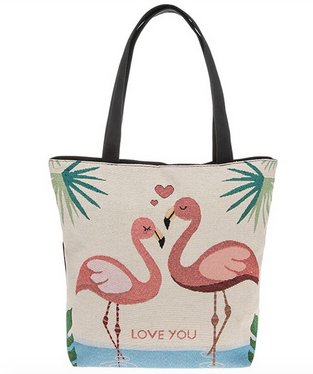 Flamingo Tapestry Fun Tote Bag Love You