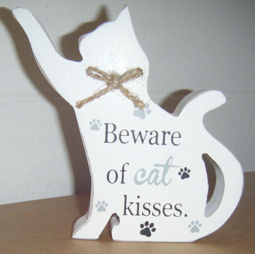 Beware of Cat Kisses - Cat Shaped Block