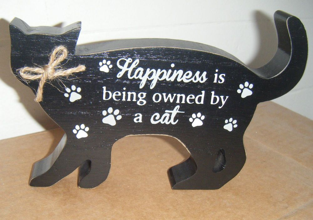 Happiness is Being Owned By A Cat - Cat Shaped Block