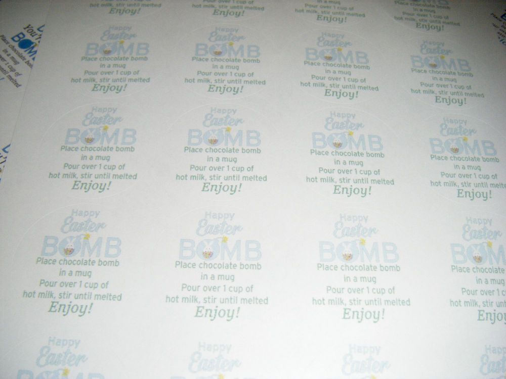 A4 24 Per Sheet Sheet of Easter Hot Chocolate Bomb Stickers Green